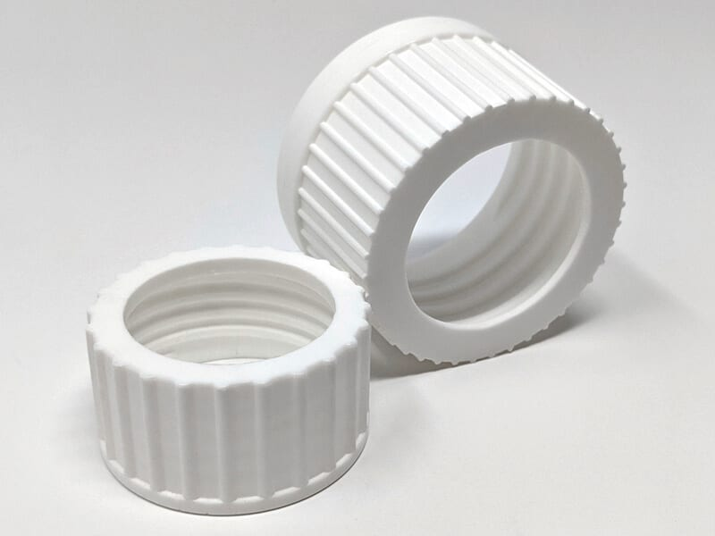 Caps produced by injection molding process.